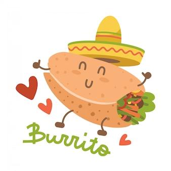 メキシカンハットソンブレロのブリトー。食品の漫画のキャラクター。白い背景で隔離されたイメージ。コミックのトレンディなスタイルのかわいい人。レタリングと平らな絵文字イラスト