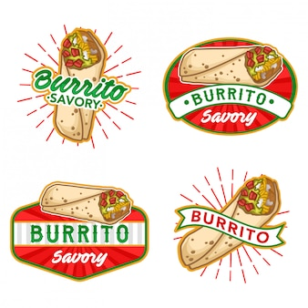 Burrito logo stock vector set