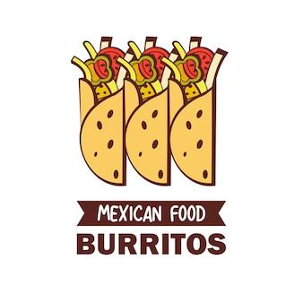 Буррито. мексиканская кухня. набор популярных мексиканских блюд. быстрое питание.