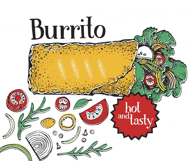 Burrito. mexican food. traditional mexican cuisine.