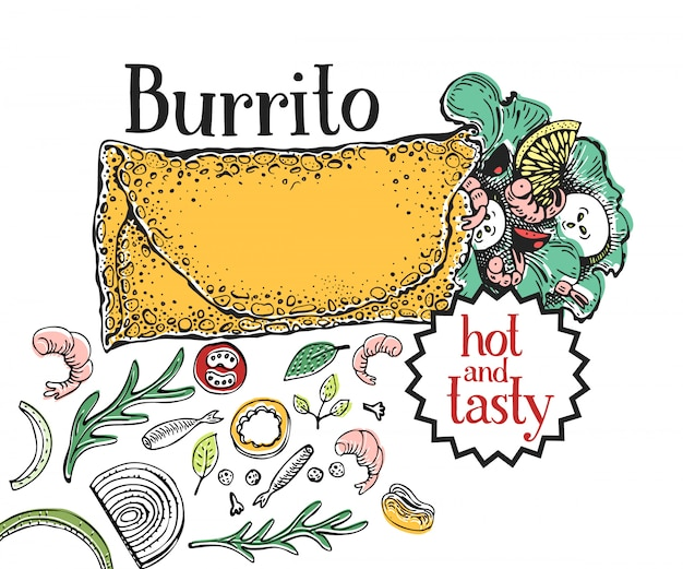 Burrito. mexican food. traditional mexican cuisine