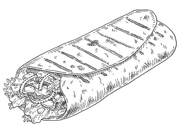 Burrito. mexican traditional food. vintage vector monochrome gray hatching illustration isolated on white background. hand drawn design