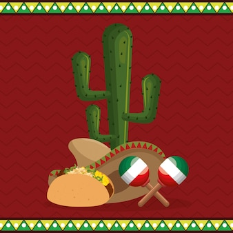 Burrito mexican traditional icons