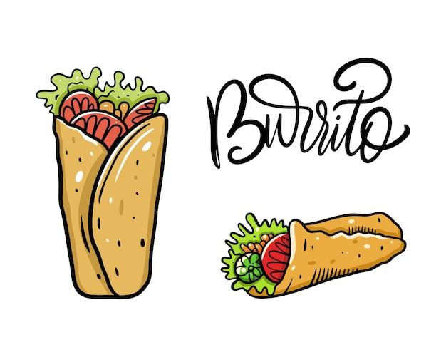 Набор буррито. мультфильм . изолированные на белом фоне. дизайн для плакатов, баннеров, печати и интернета.