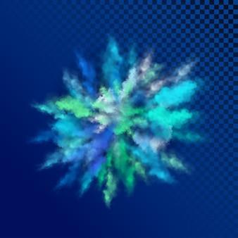 Взрывное движение цветного порошка, изолированного на синем