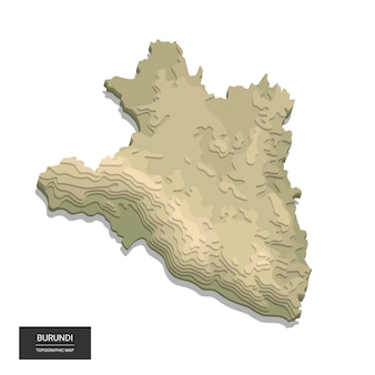 Карта бурунди - цифровая высотная топографическая карта. иллюстрация. цветной рельеф, пересеченная местность. картография и топология.