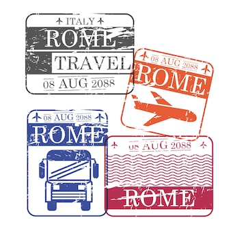 Bus and airplane travel stamps