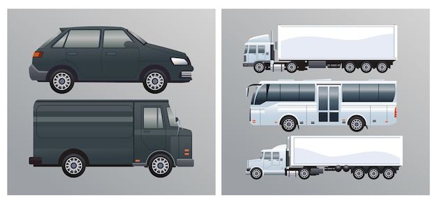 Автобусы и грузовики с автомобилями в стиле брендинга