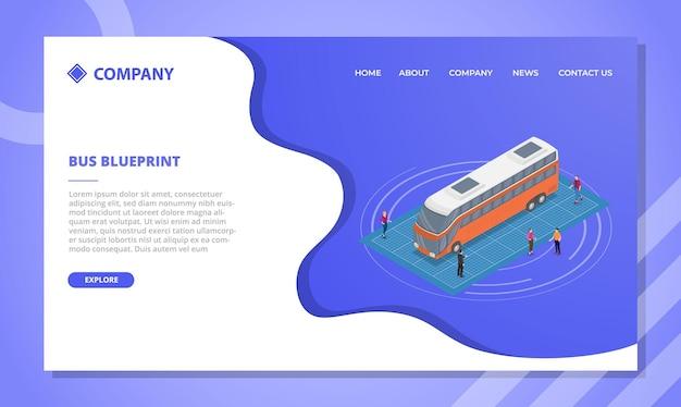 アイソメトリックスタイルのベクトル図とウェブサイトテンプレートまたは着陸ホームページのバス青写真の概念