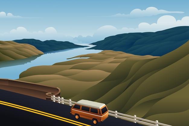 Bus on the bridge mountain river