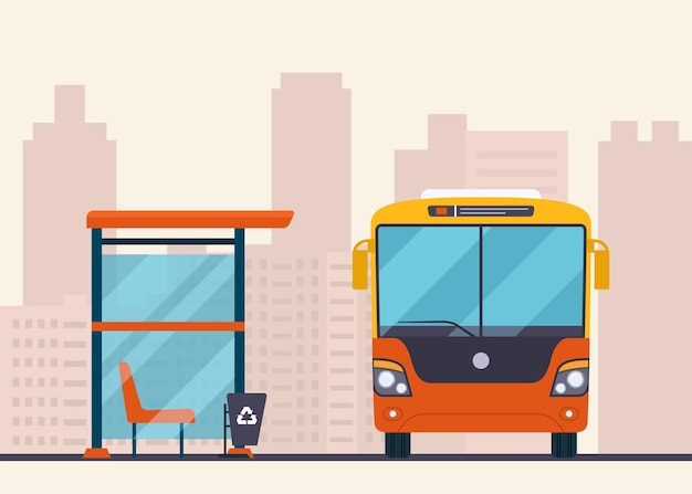 Bus and bus stop on abstract cityscape.