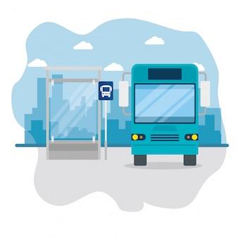 Bus on bus stop, public urban transport of cityscape