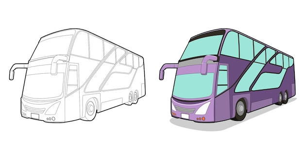 Bus cartoon easily coloring page for kids
