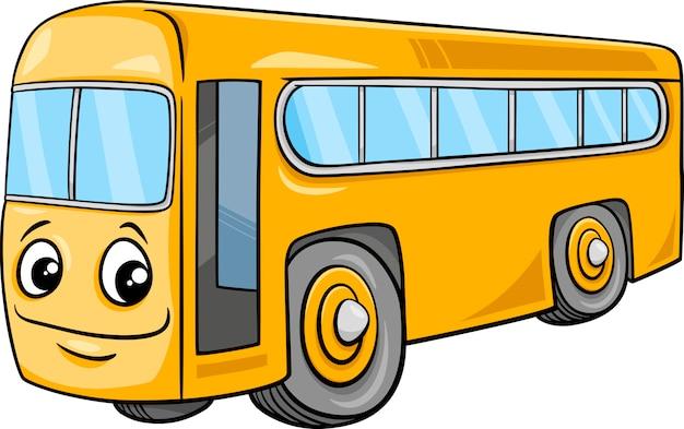 Bus character cartoon illustration