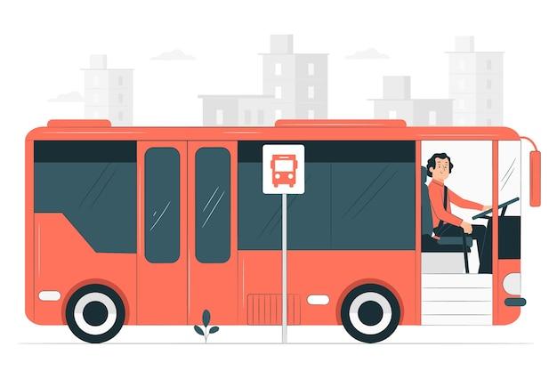 Иллюстрация концепции водителя автобуса