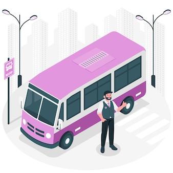 버스 드라이버 컨셉 일러스트