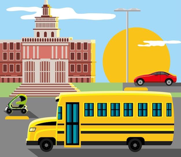 버스 전기 자동차 도시