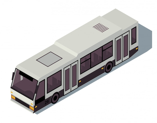 Bus isometric color illustration. city public transport infographic.
