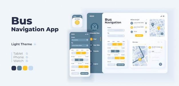 Шаблон адаптивного дизайна экрана приложения для навигации по автобусу. график пассажирских перевозок и интерфейс приложения маршрутов в легком режиме с плоскими иллюстрациями. смартфон, планшет, умные часы с мультяшным интерфейсом