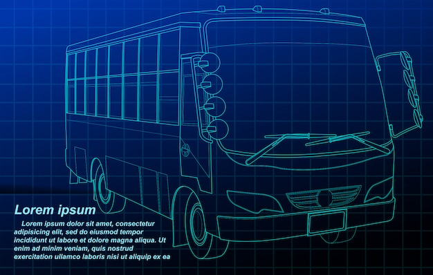 Bus outline on blueprint background.