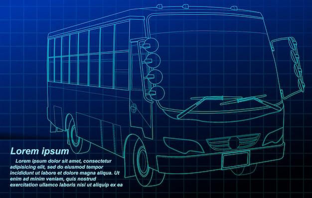 青写真の背景にバスの概要。