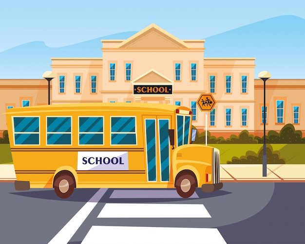Bus in road with building school