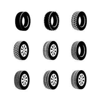 휠, 트럭 또는 자동차 타이어 용 버스 고무 타이어. 전송 경주 타이어 또는 겨울 보호기의 고립 된 아이콘. 가황 배너 또는 차고 로고, 자동차 휠 밸런싱 서비스 또는 차량 수리