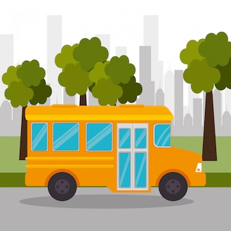 Bus school tree urban icon