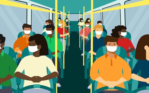 Сиденья для автобусов. черно-белое, мужчина, женщина в маске. векторные иллюстрации.