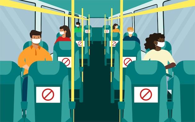 Места для сидения в автобусе с социальной дистанцией. черно-белое, мужчина, женщина в маске. векторные иллюстрации.