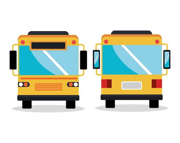 バスサービスの設定アイコンイラストのデザイン