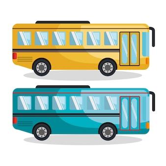 バスサービスは孤立したアイコンを設定ベクトルイラストデザイン