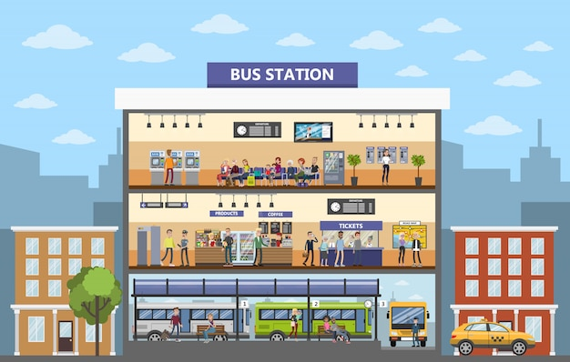 도시에서 버스 정류장 건물 인테리어입니다.