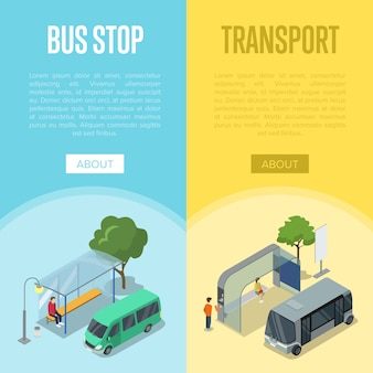 Bus station isometric 3d posters