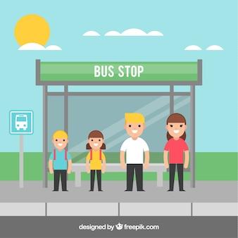バス停とフラットデザインの人々