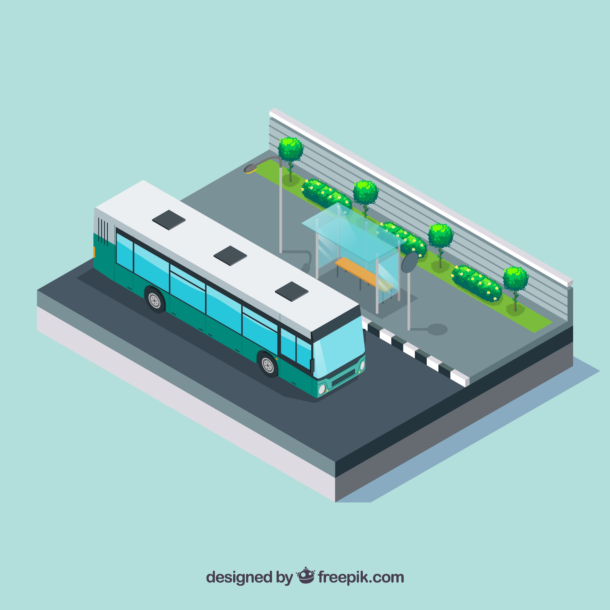Bus stop background with bus in isometric style