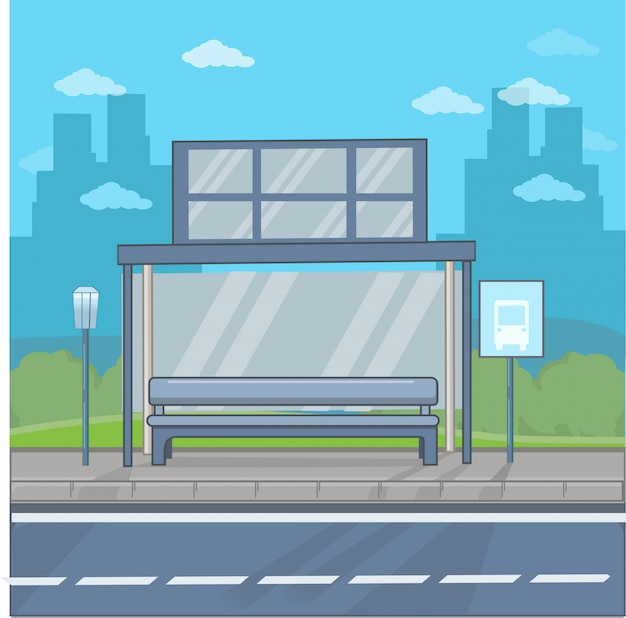 Bus stop in the city flat design