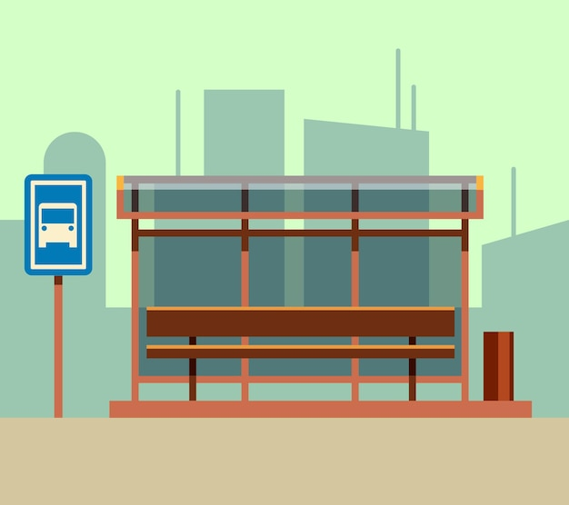 Bus stop in city landscape in flat style