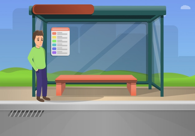 Bus stop concept illustration cartoon style
