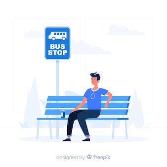 Иллюстрация концепции автобусной остановки
