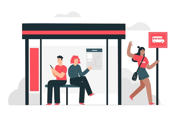 Bus stop concept illustration