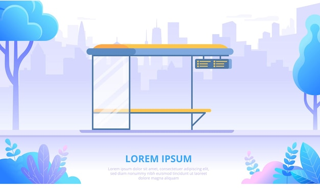 Bus stop flat banner vector template. empty urban road cartoon illustration. bus shelter on city skyline background. municipal transportation system. autobus station with bench and timetable