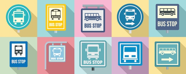 Bus stop icon set