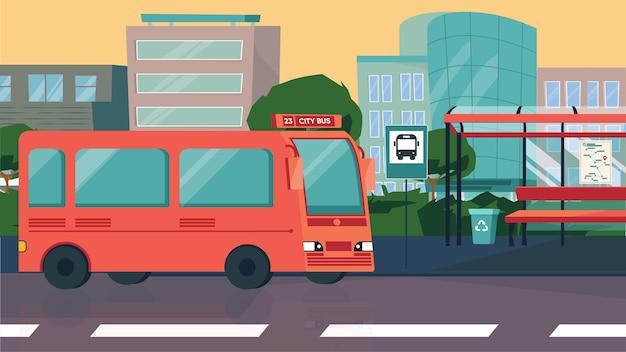 フラット漫画デザインの都市コンセプトのバス停。乗客を待っているバス、ベンチのある駅、街並み。現代の公共都市交通、インフラ。ベクトルイラスト水平背景