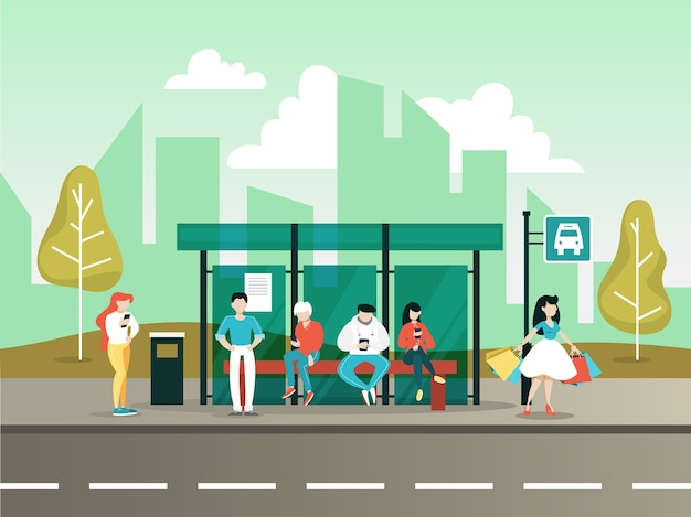 도시의 버스 정류장. 교통에 대한 아이디어.