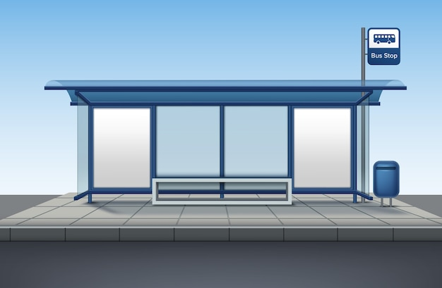 Bus stop made of glass and metal with a bench for sitting with blank banner isolated front view