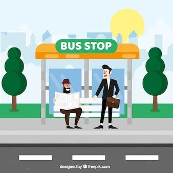 Fermata dell'autobus e persone con design piatto