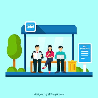 Bus stop and people with flat design
