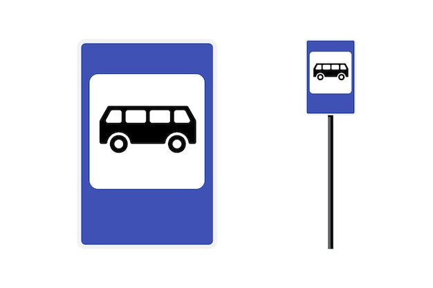 Bus stop post station flat design blue sign set isolated vector illustration on white background