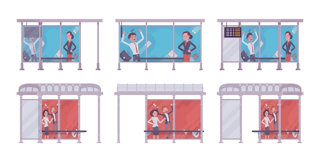 Bus stop set. blue, red collection, place passengers wait a public transportation, banners with advertisement. city street beautification, urban design concept.   style cartoon illustration